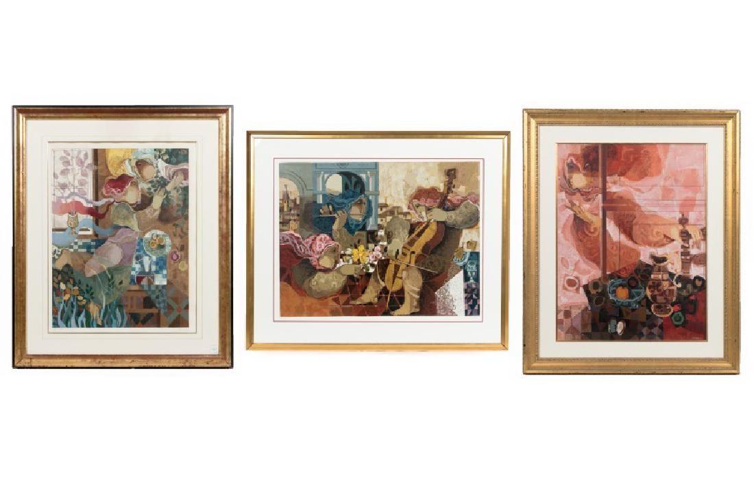 Group of 3 Framed Alvar Sunol Signed Works