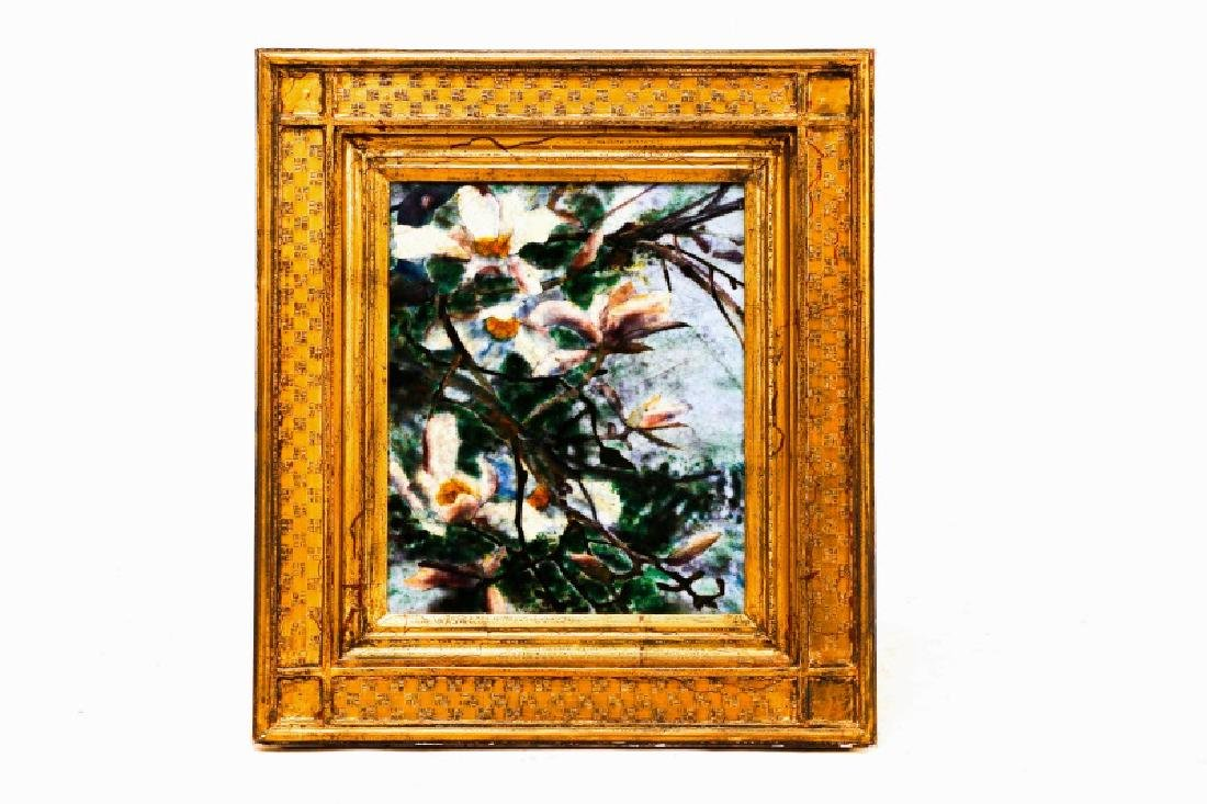 "Steven Stelz, ""Magnolias"", Painting in Glass"