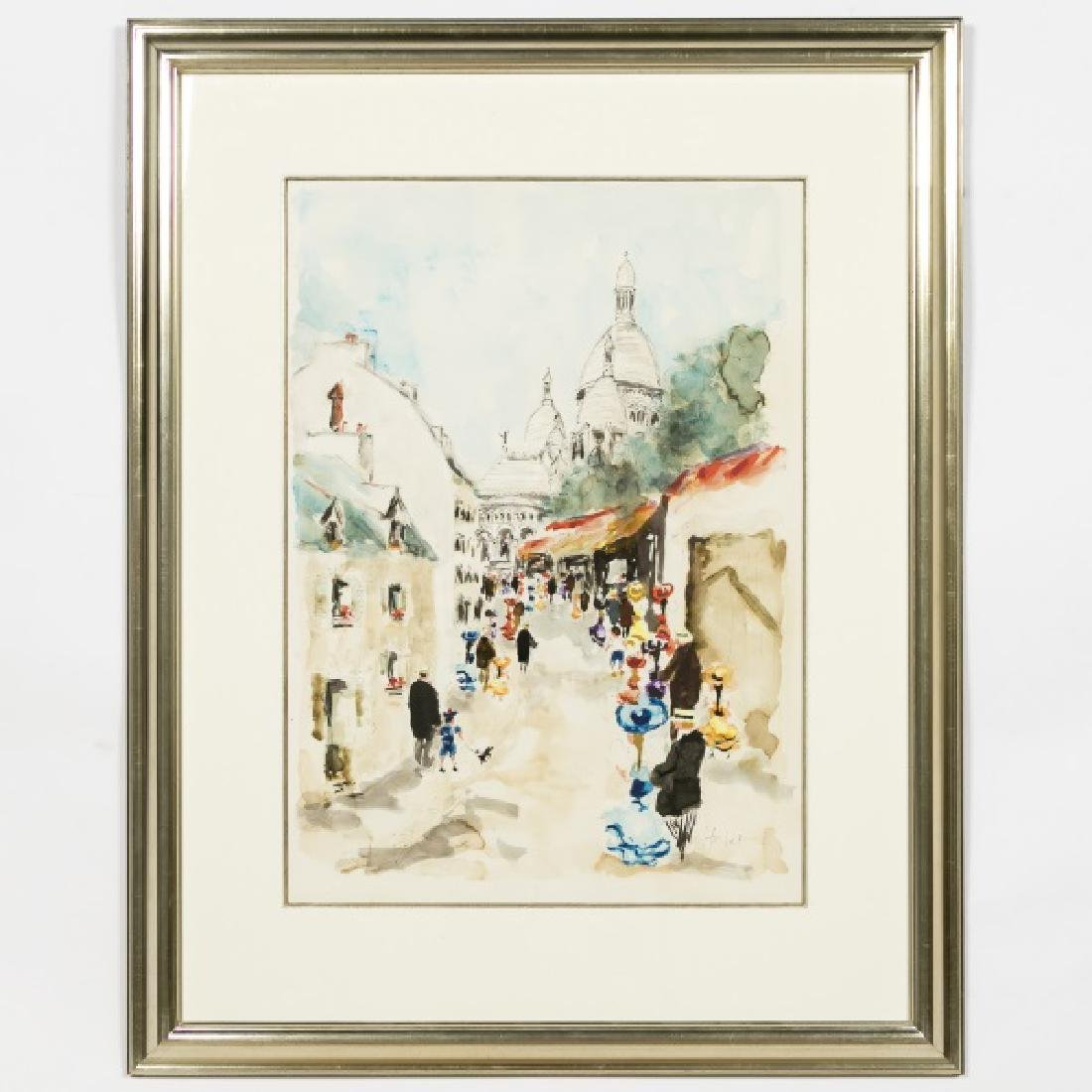"U. Huchet Signed Watercolor, ""A Season in Paris"""