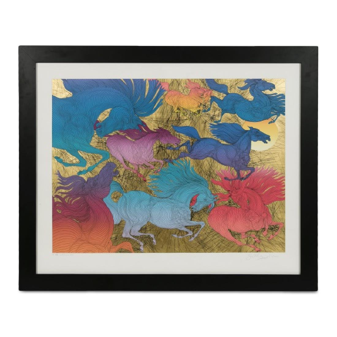 """Guillaume Azoulay, """"Huit Chevaux"""" Serigraph, 2007"""