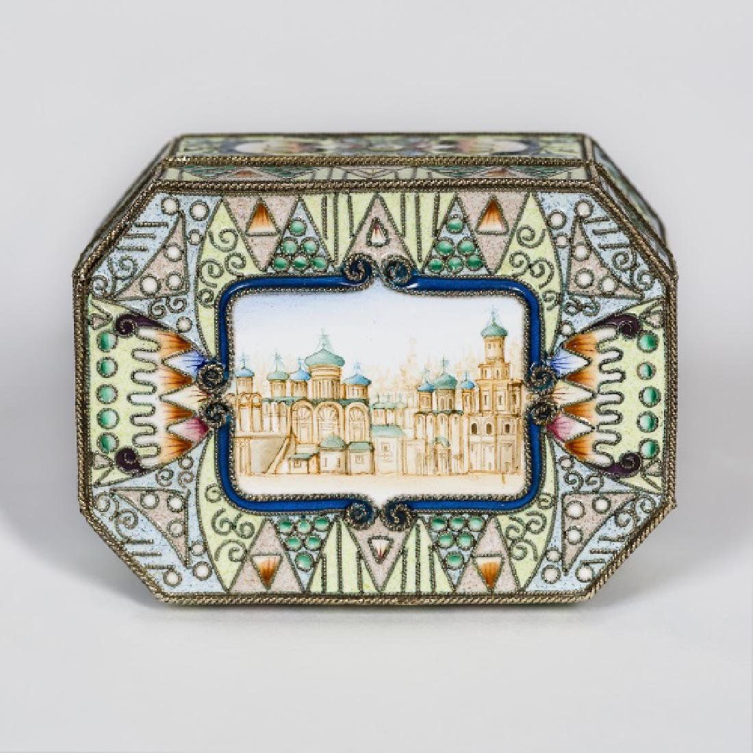 Faberge Silver Gilt Enamel Box, Feodor Ruckert