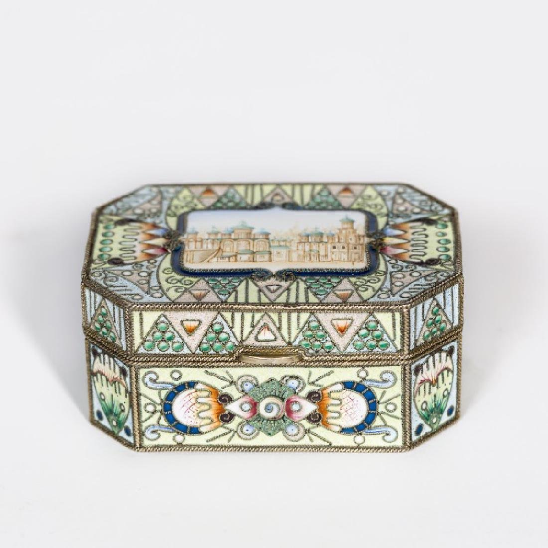 Faberge Silver Gilt Enamel Box, Feodor Ruckert - 3