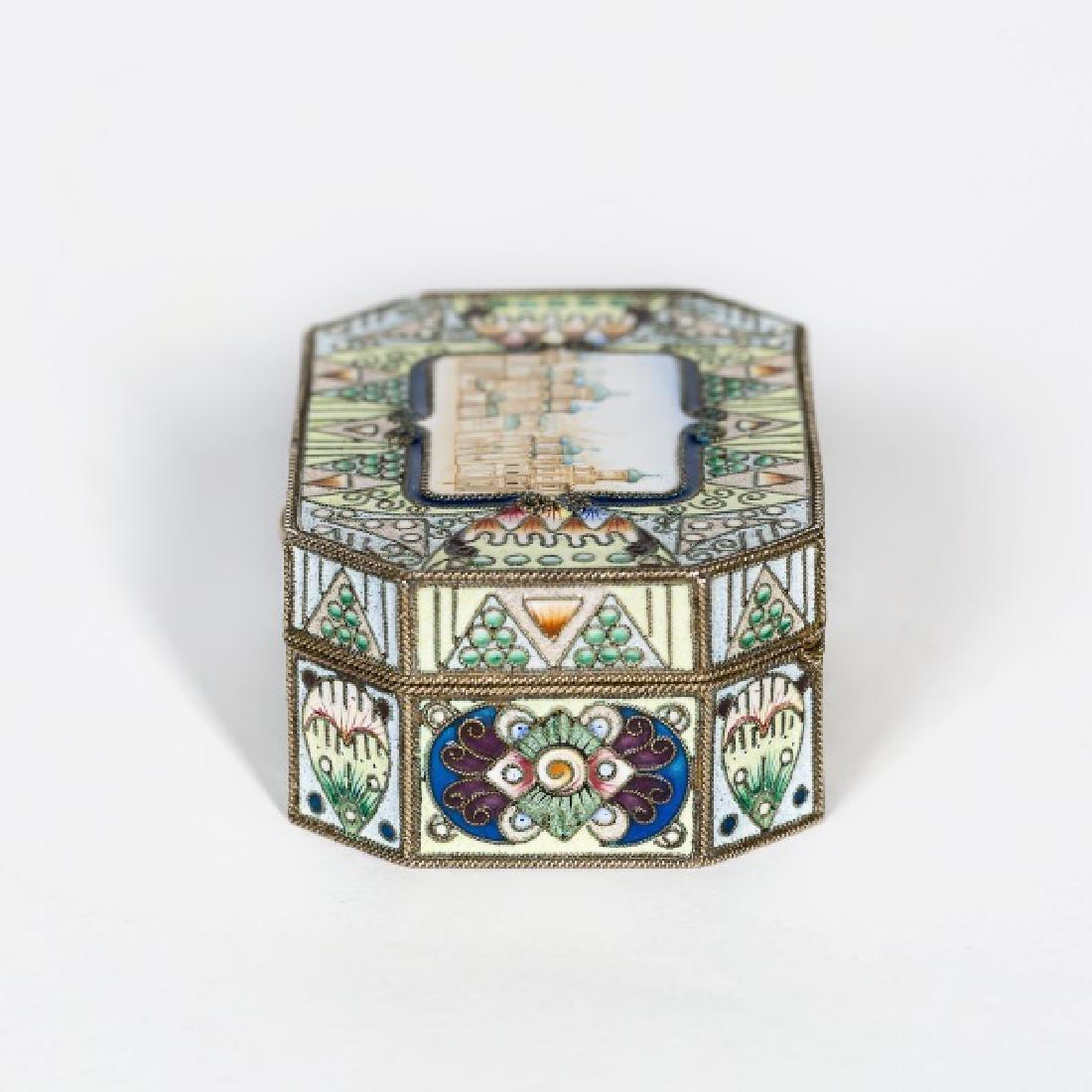 Faberge Silver Gilt Enamel Box, Feodor Ruckert - 4