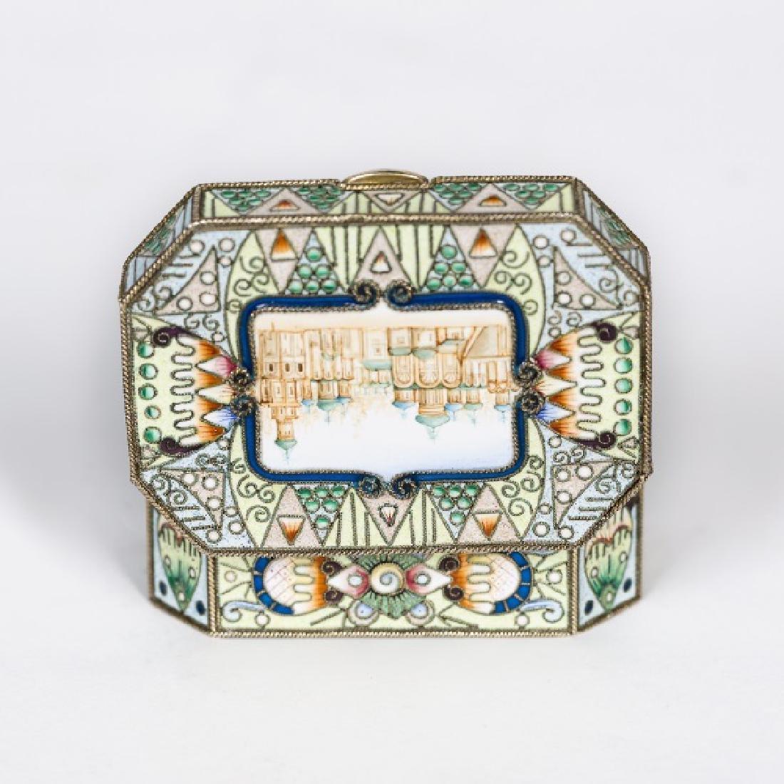 Faberge Silver Gilt Enamel Box, Feodor Ruckert - 5