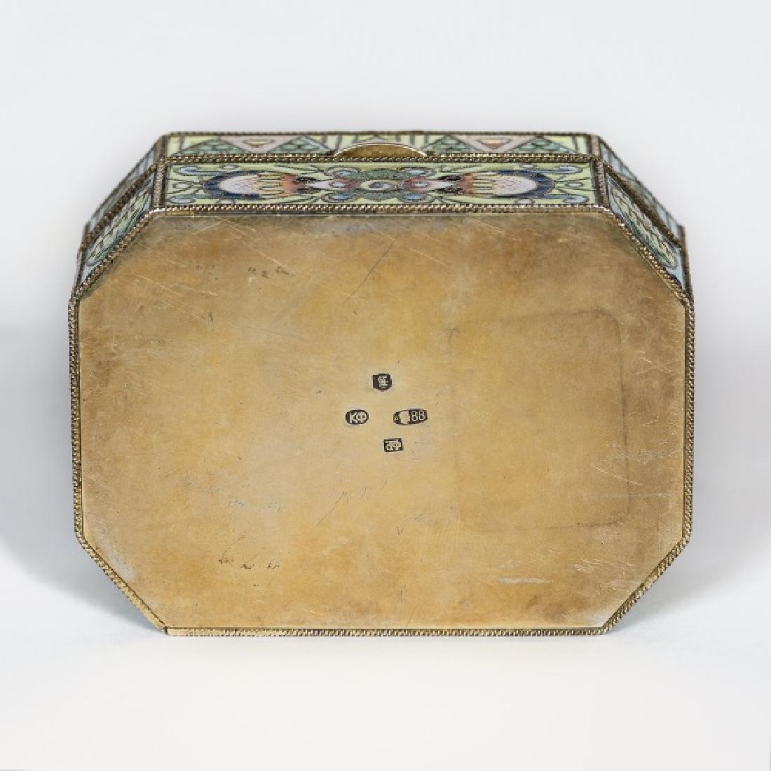 Faberge Silver Gilt Enamel Box, Feodor Ruckert - 6