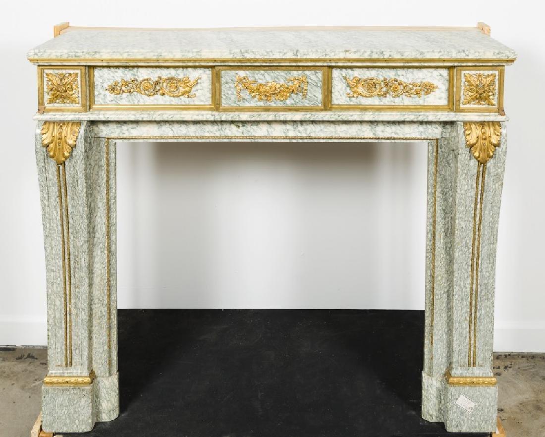 Fine Gilt Bronze & Marble Fireplace Surround