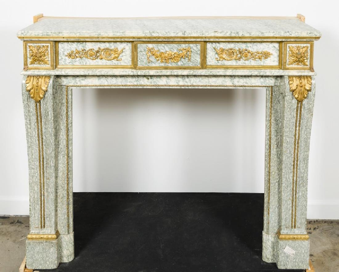 Fine Gilt Bronze & Marble Fireplace Surround