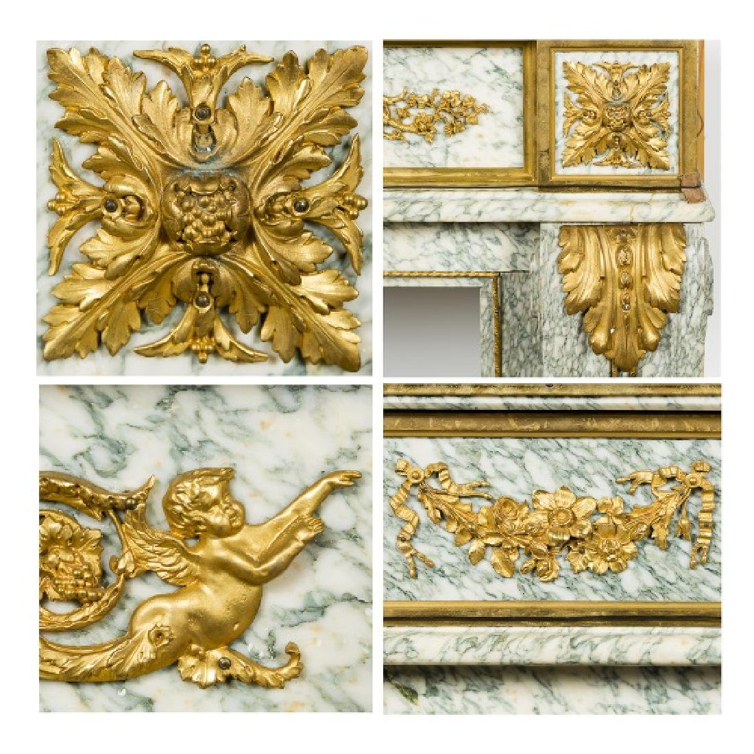 Fine Gilt Bronze & Marble Fireplace Surround - 6