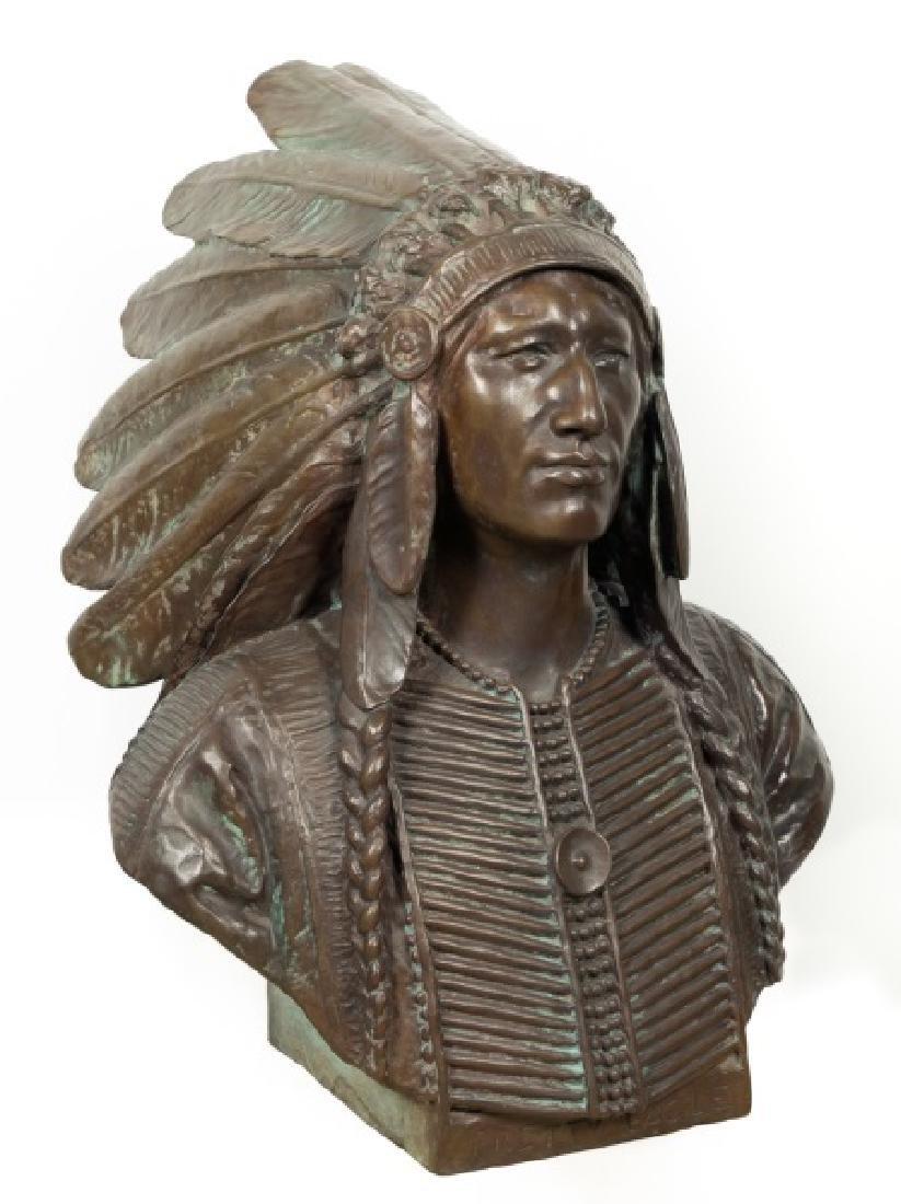"""Dallin, Native American Bronze Bust """"Pretty Eagle"""""""