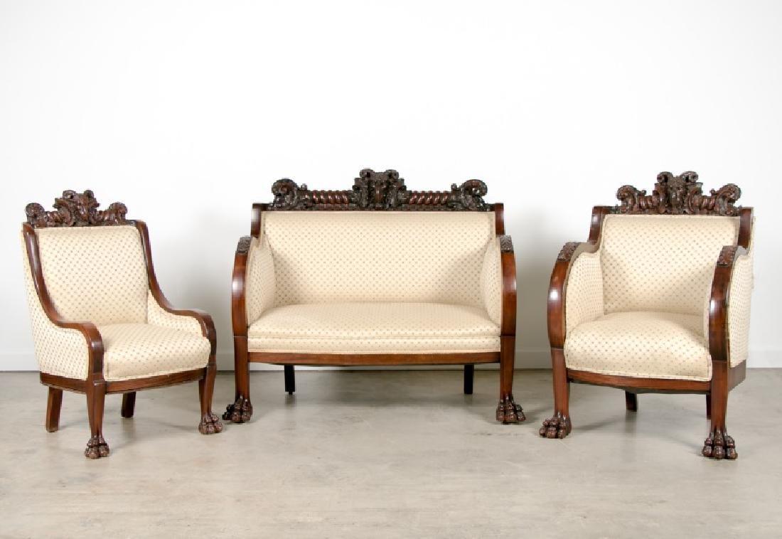 Karpen Furniture 3 Piece Ram's Head Parlor Suite
