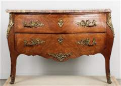 19th C. French Marble Top 2 Drawer Commode
