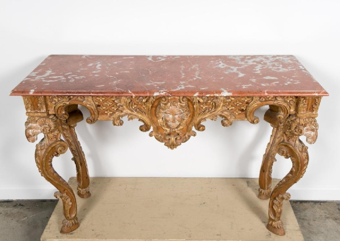 Italian Carved Giltwood Console Table w/Marble Top - 2