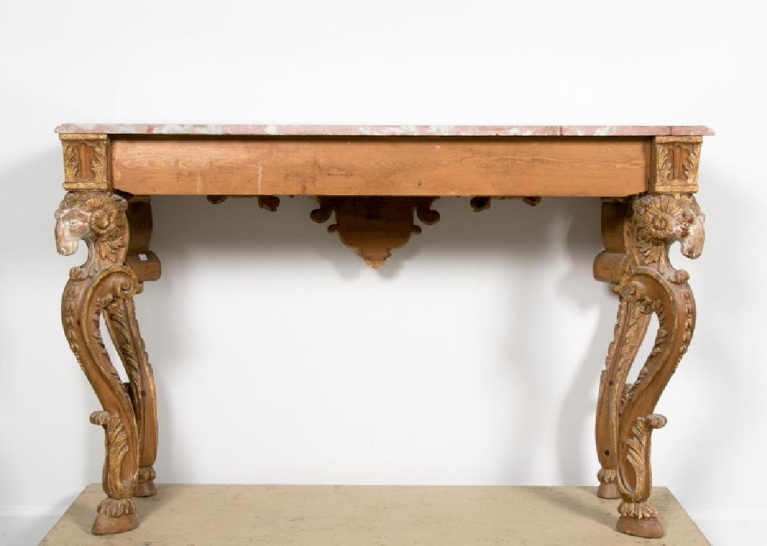 Italian Carved Giltwood Console Table w/Marble Top - 4