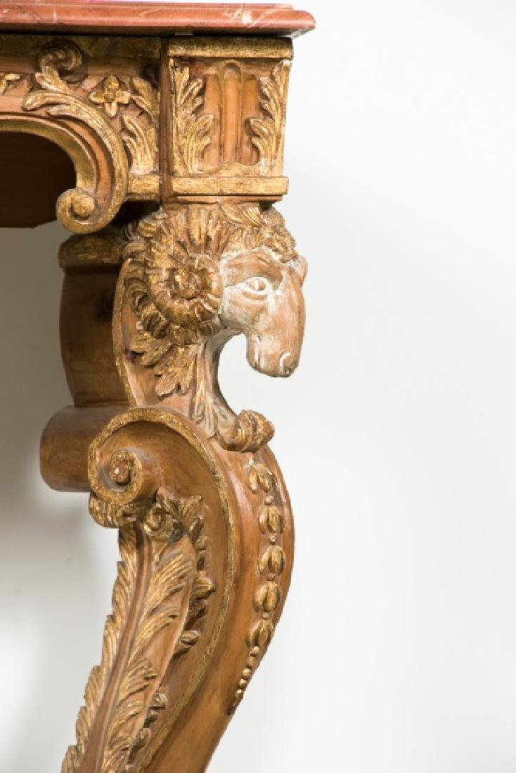 Italian Carved Giltwood Console Table w/Marble Top - 6