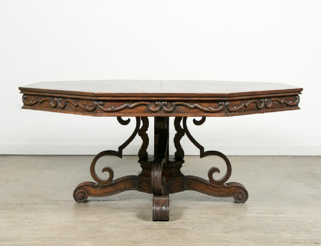Louis Pistono Oak and Inlay Dining Table