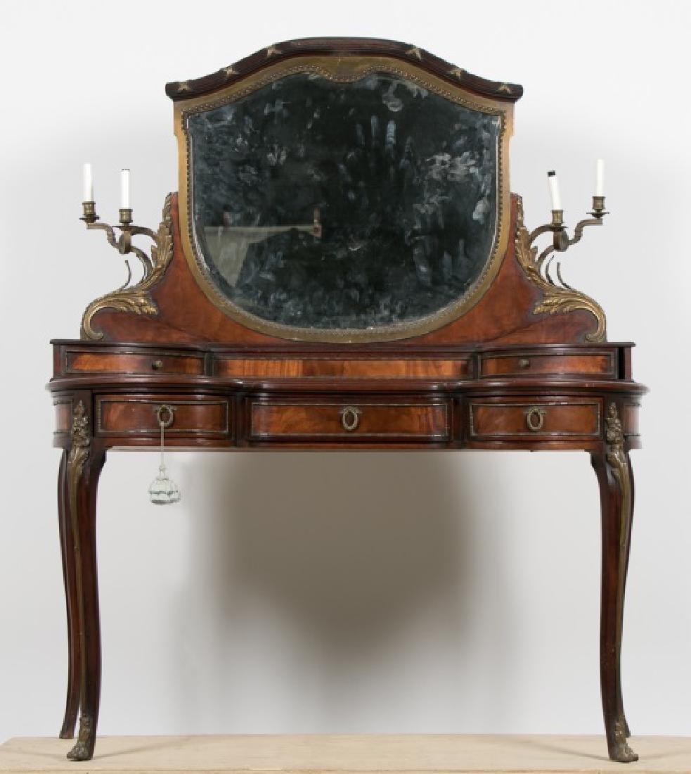 Directoire Style Flame Mahogany Mirrored Vanity