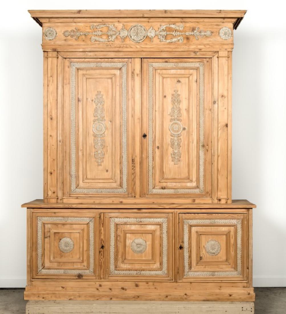 Louis XVI Provincial Large Pine Two Piece Cupboard