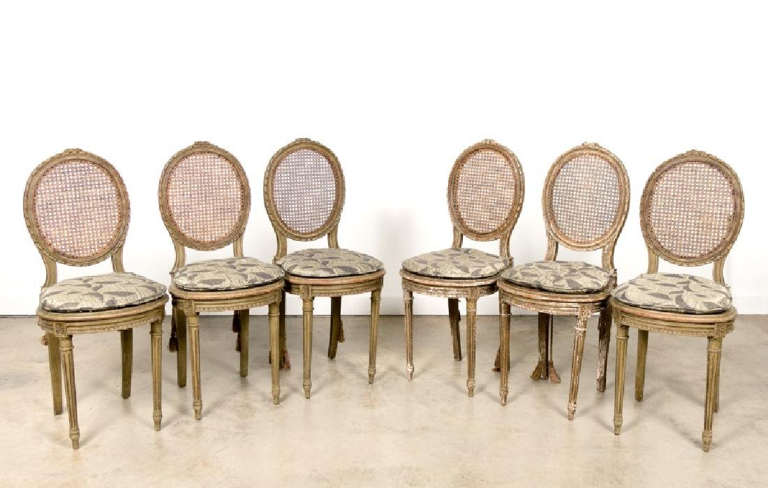 19th c. Set of 6 French Caned Dining Chairs