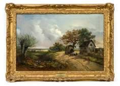 "R.B. David, ""Outside the Inn"", Landscape O/C"