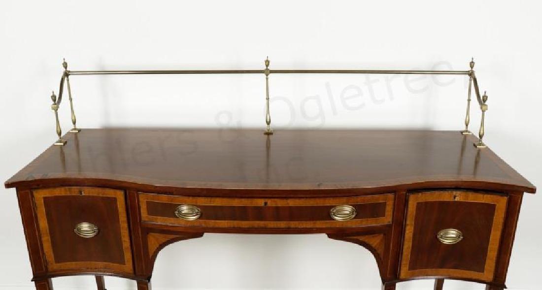 Mahogany Serpentine Sideboard w/ Brass Gallery - 2