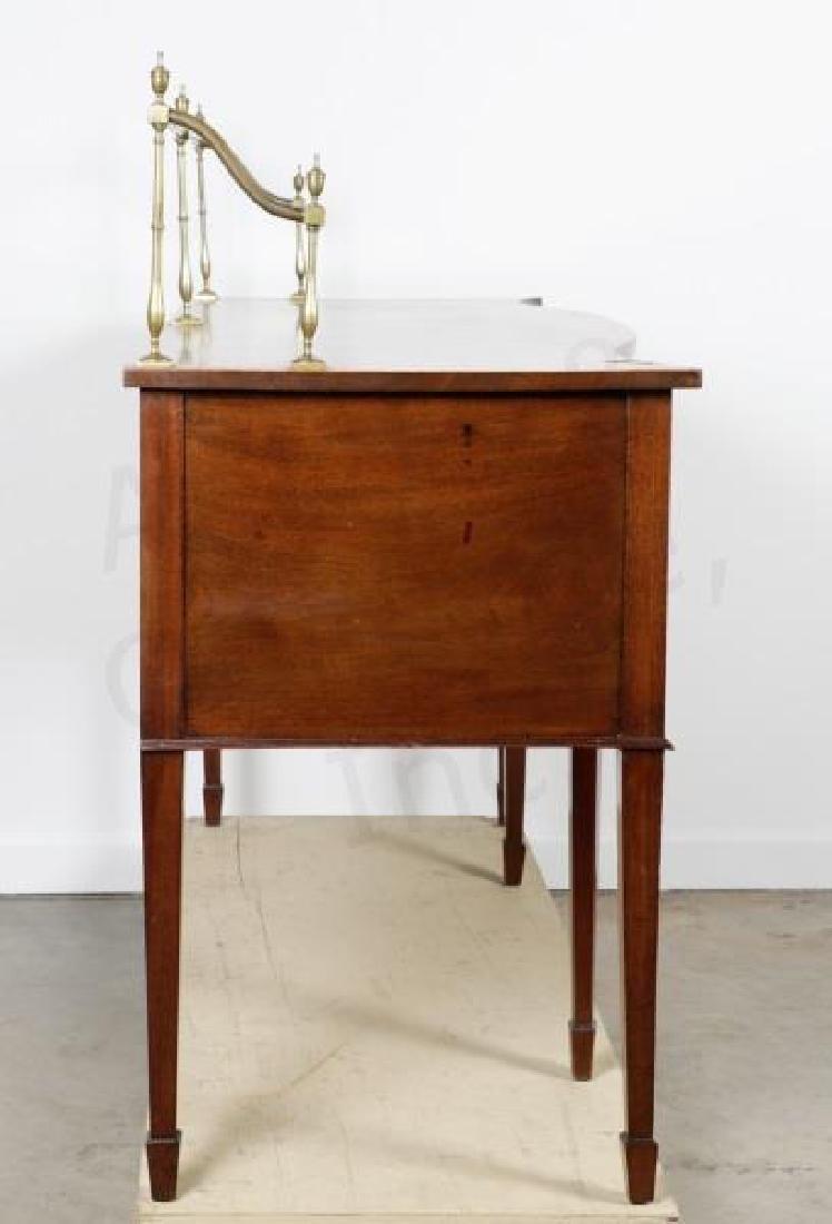 Mahogany Serpentine Sideboard w/ Brass Gallery - 4