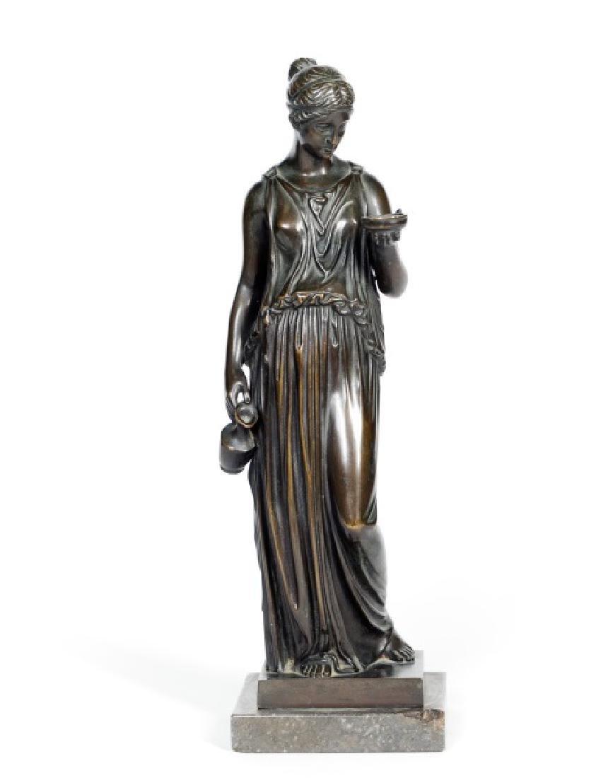 Oskar Gladenbeck Bronze Standing Female on Marble