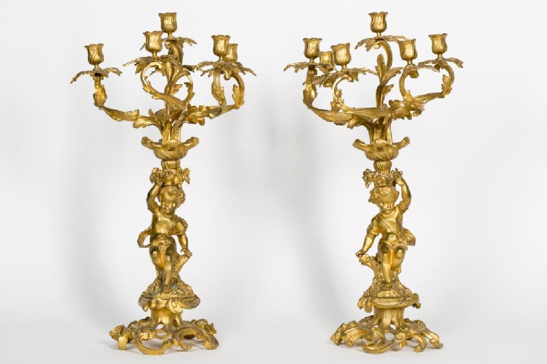 Pair, Louis XVI Gilt Bronze Six Light Candelabrum