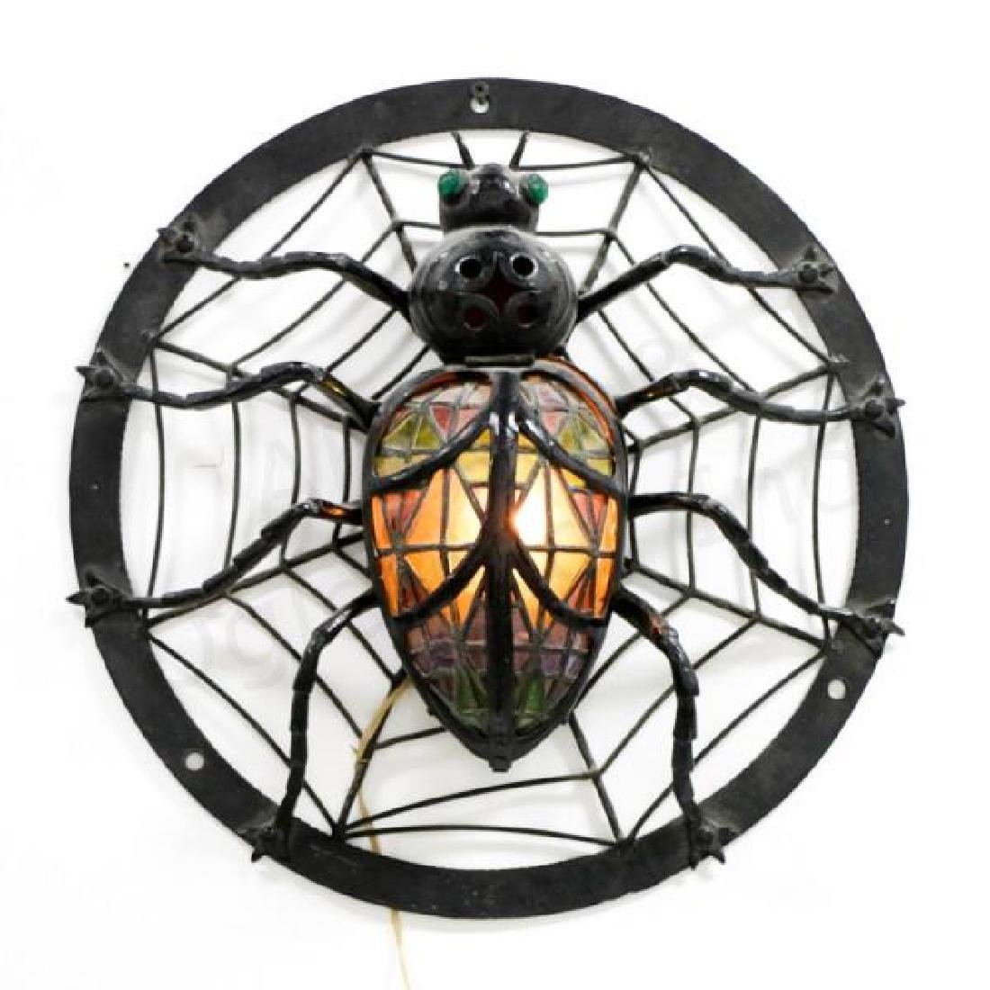 Stained Glass Spider Web & Spider Hanging Lamp
