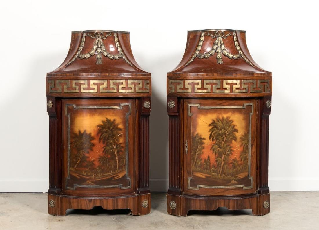 Pair of Continental Rosewood Corner Cabinets