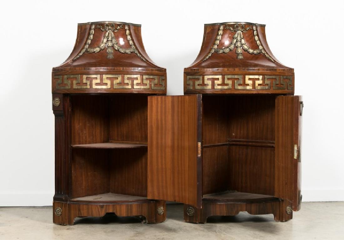 Pair of Continental Rosewood Corner Cabinets - 2