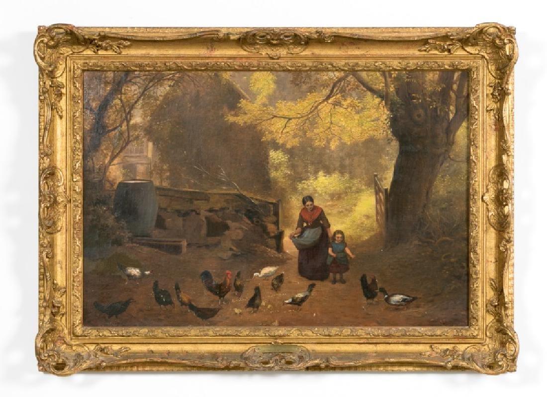 19th C. English Oil, Mom & Child Feeding Chickens