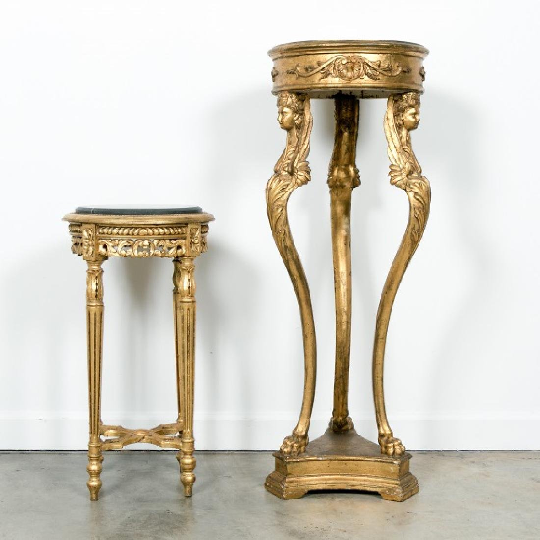 Group of 2 Carved Giltwood Gueridon Tables