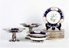 16 PC Sevres Style Porcelain Set w Floral Motif