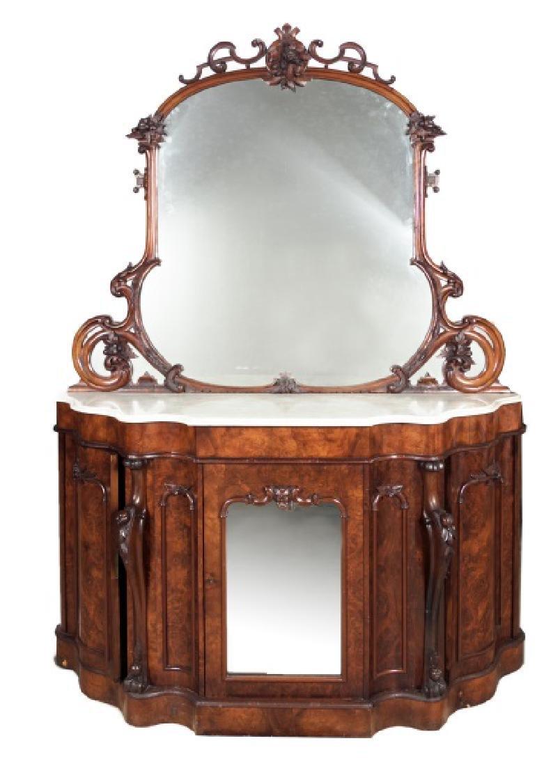 19th Century Burled Mahogany & Marble Sideboard