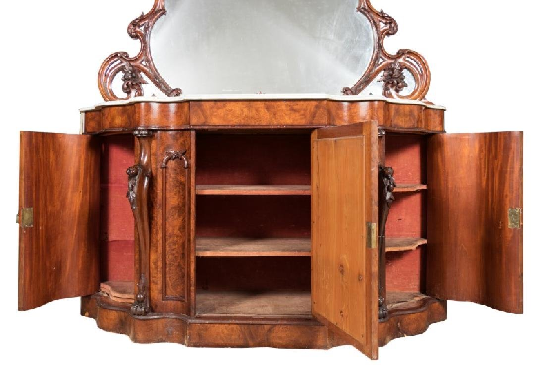19th Century Burled Mahogany & Marble Sideboard - 3