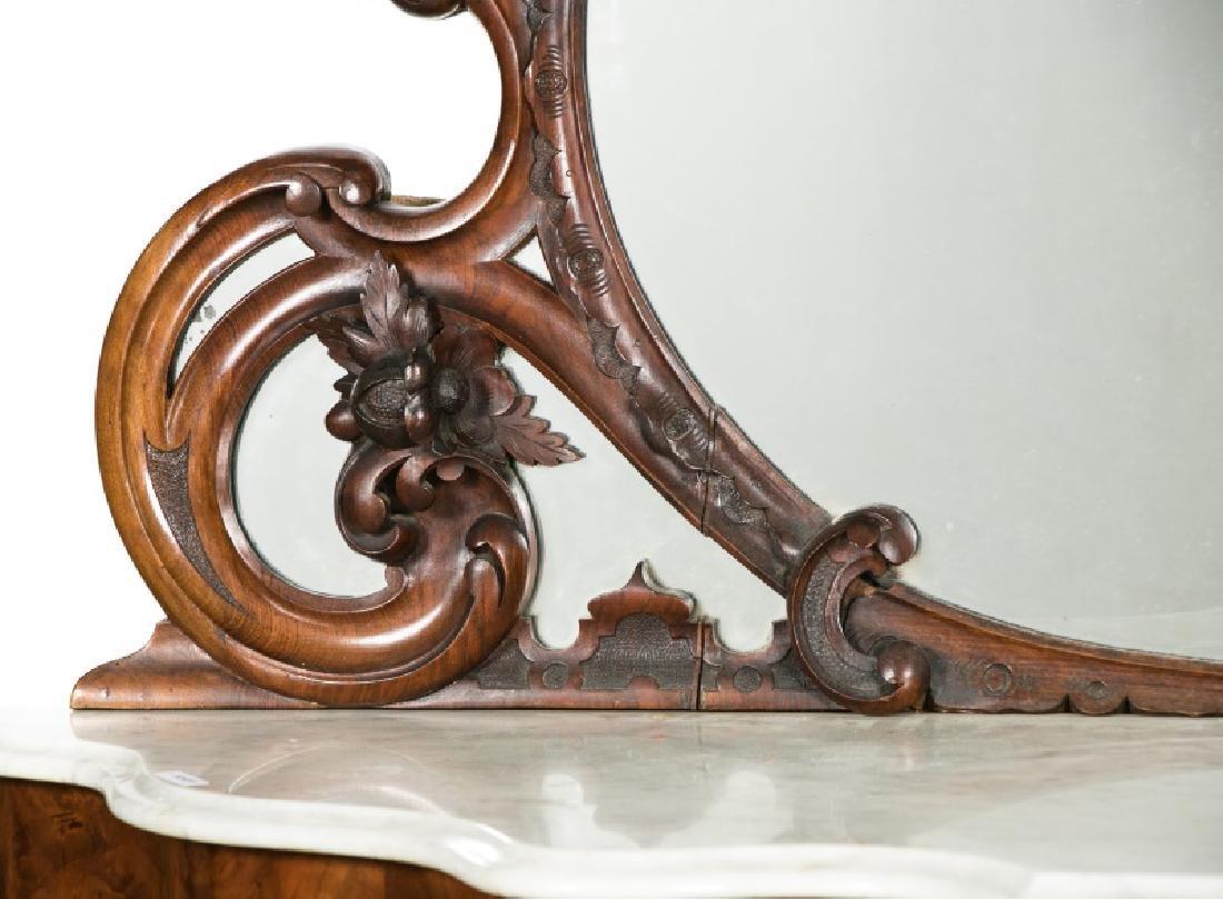 19th Century Burled Mahogany & Marble Sideboard - 4