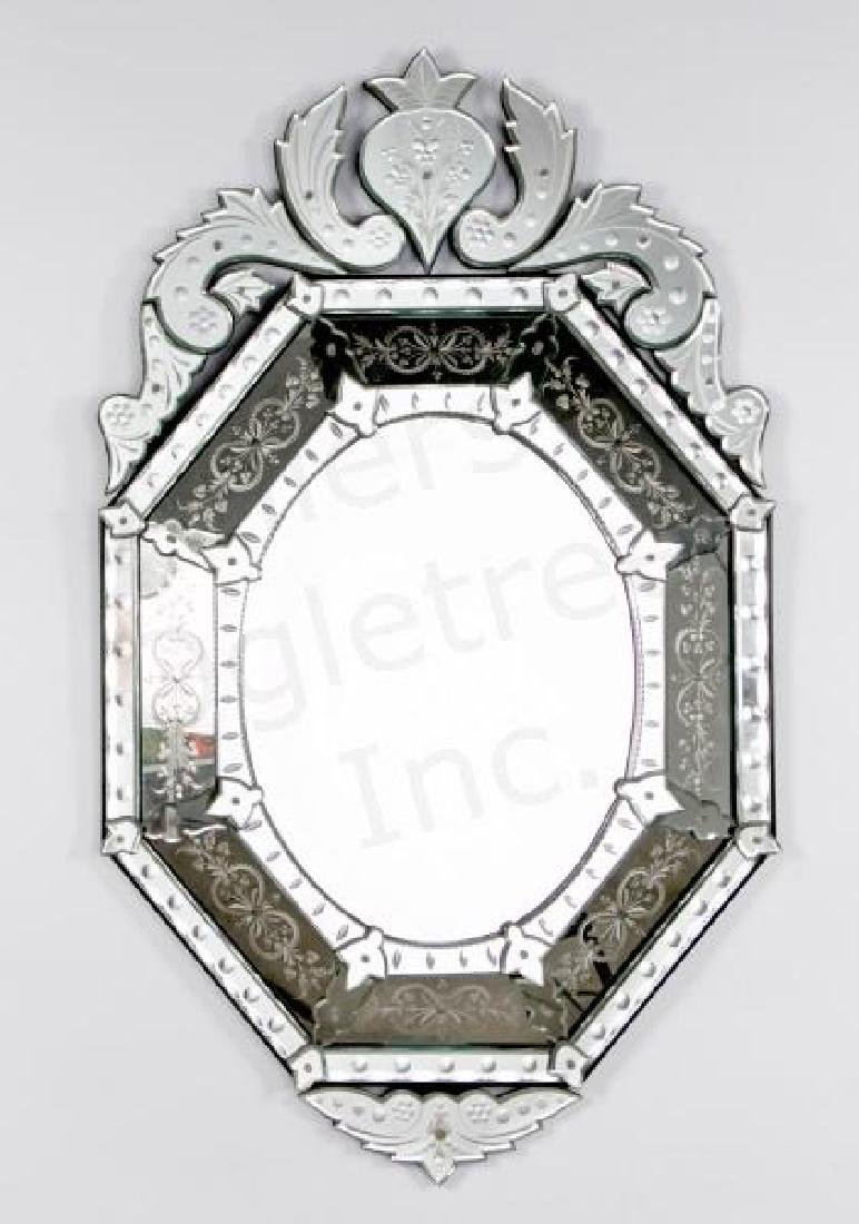 Venetian Etched Glass Mirror with Foliate Crest
