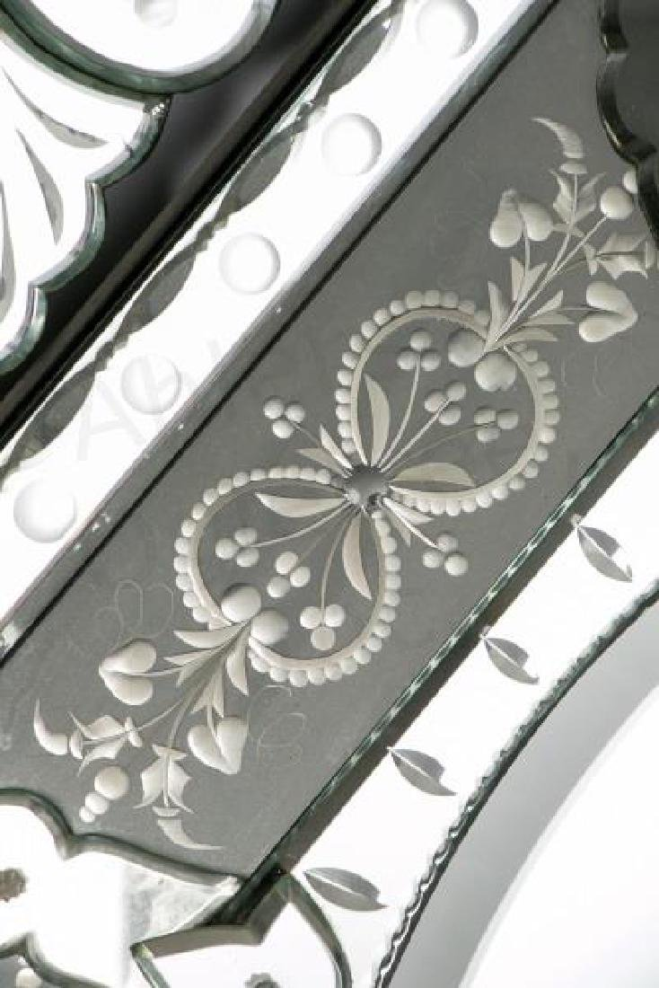 Venetian Etched Glass Mirror with Foliate Crest - 4