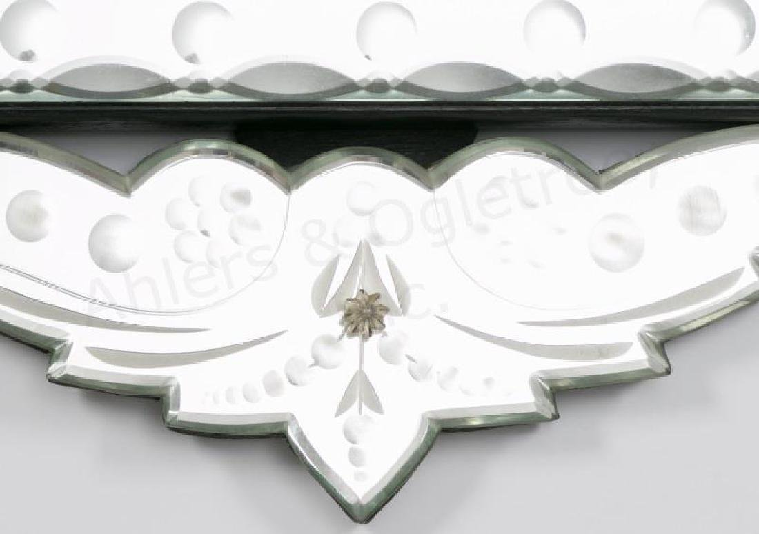 Venetian Etched Glass Mirror with Foliate Crest - 5