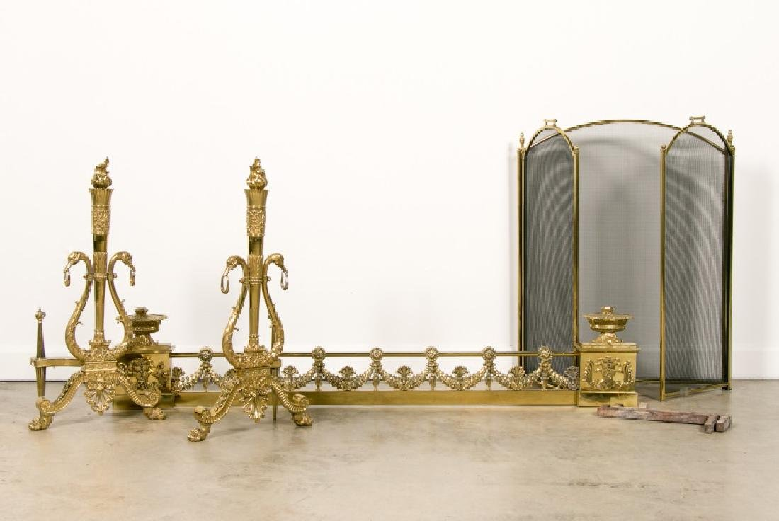 Four Piece Neoclassical Gilt Bronze Fireplace Set
