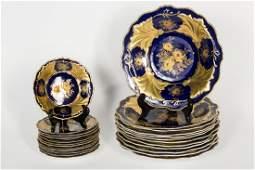 24 PC Weimar German Jutta Cobalt  Gilt Plate Set