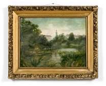 19th C. English Landscape Scene w/ Lily Pond, O/C