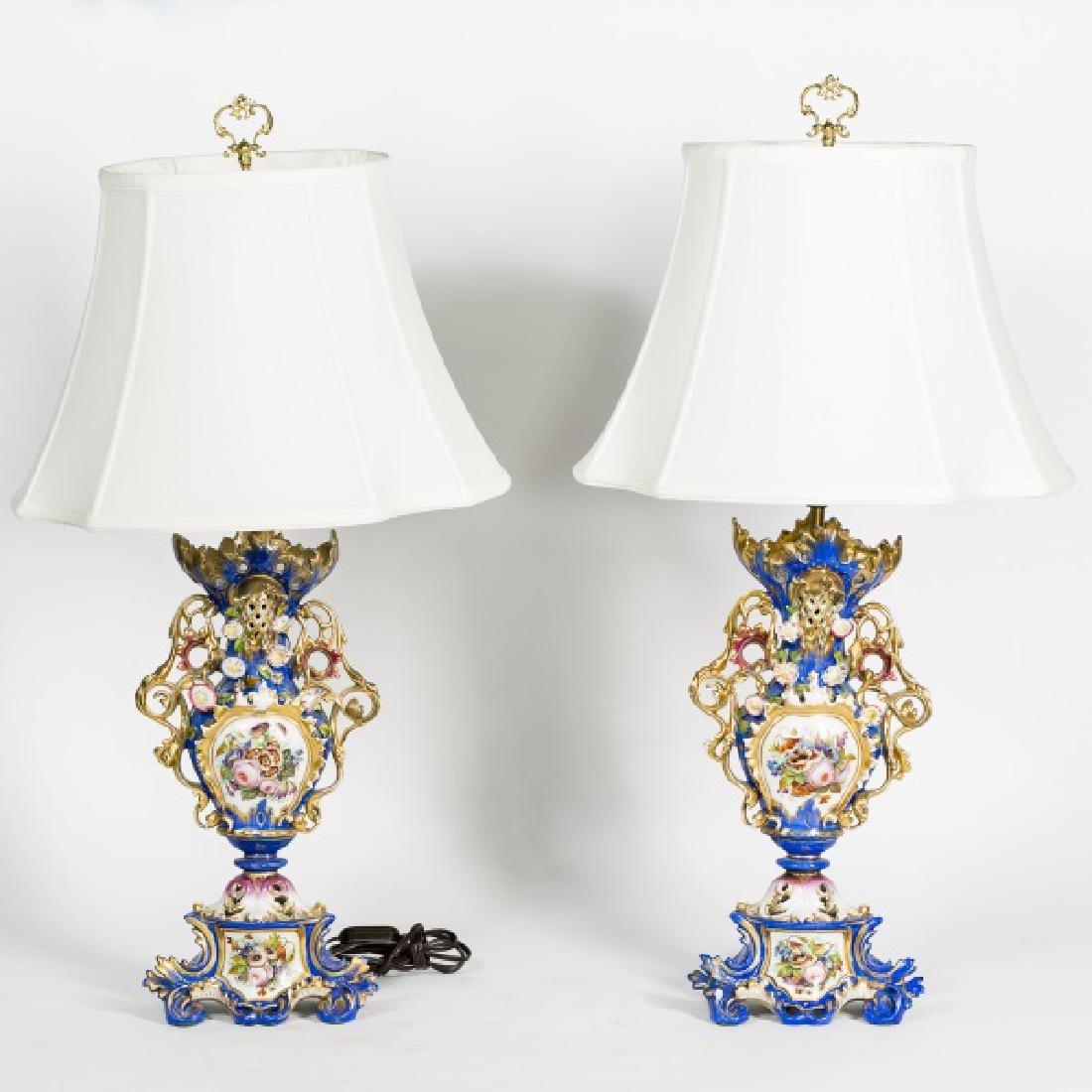 Pair of Blue Porcelain Urn Floral Table Lamps
