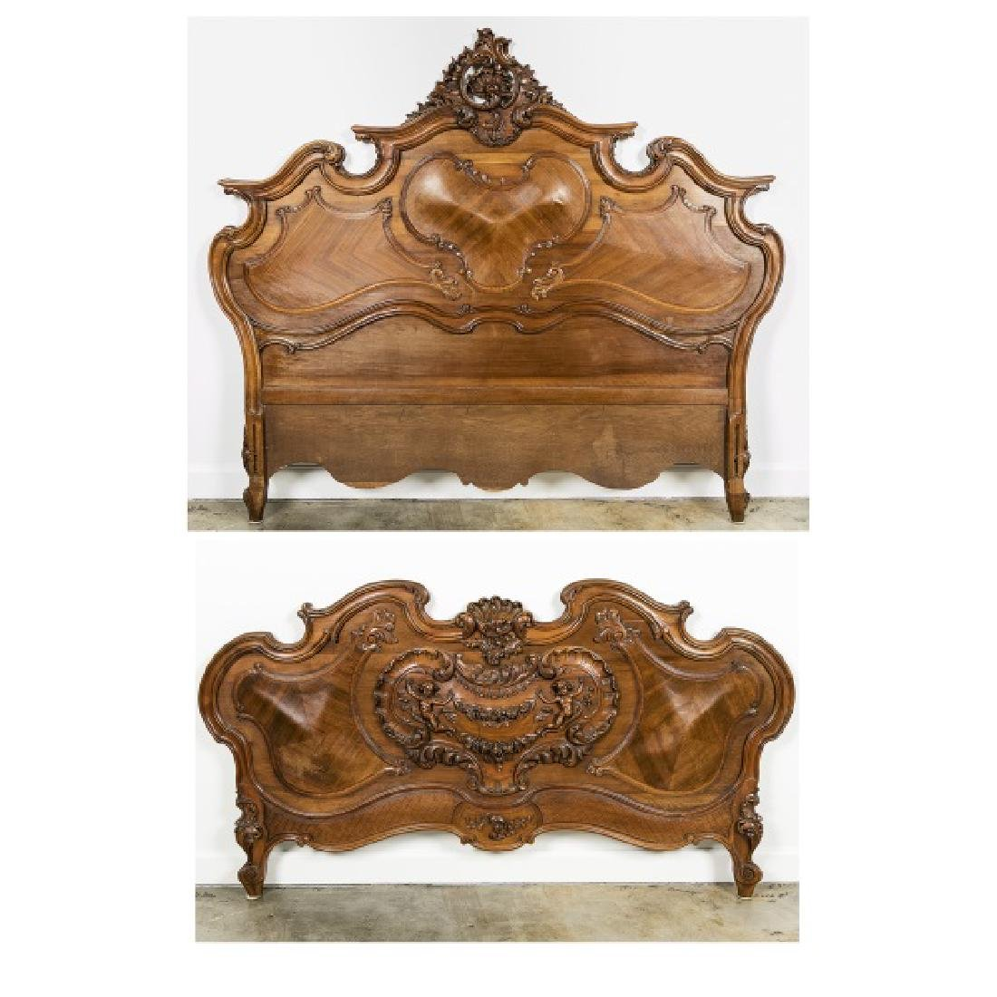 19th Century Rococo Ornately Carved Bed Frame