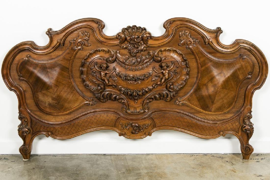 19th Century Rococo Ornately Carved Bed Frame - 8