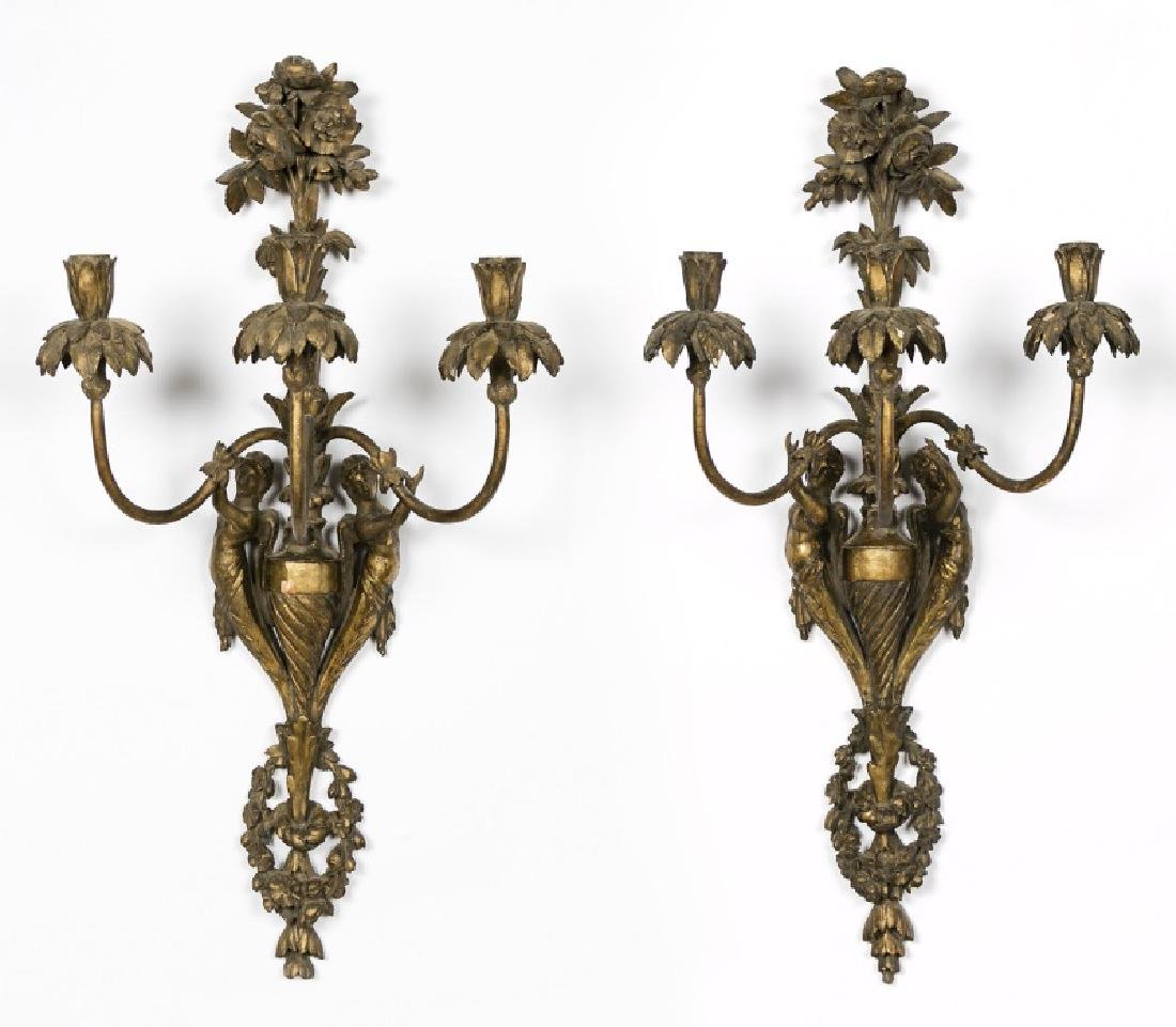 Pair, 19th C. French Carved Gilt Wood Wall Sconces