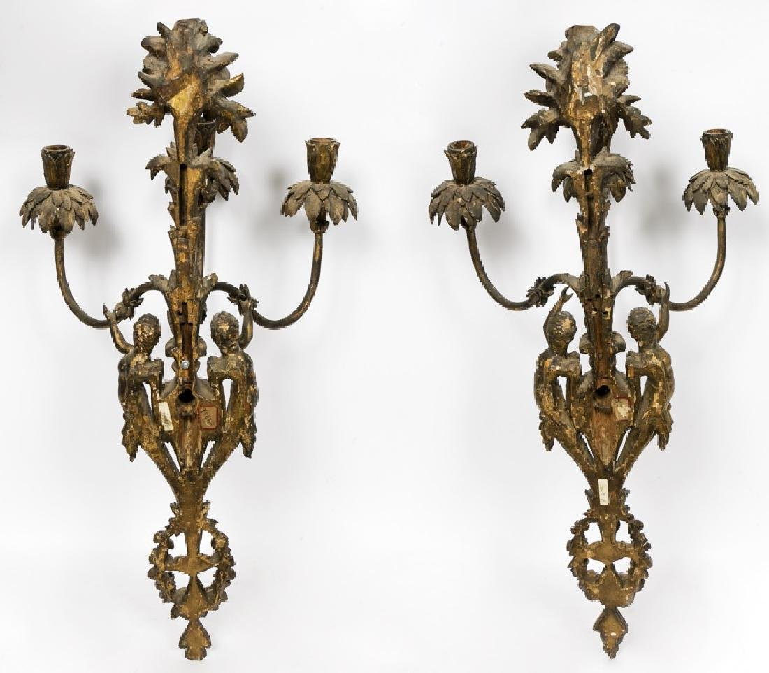 Pair, 19th C. French Carved Gilt Wood Wall Sconces - 2