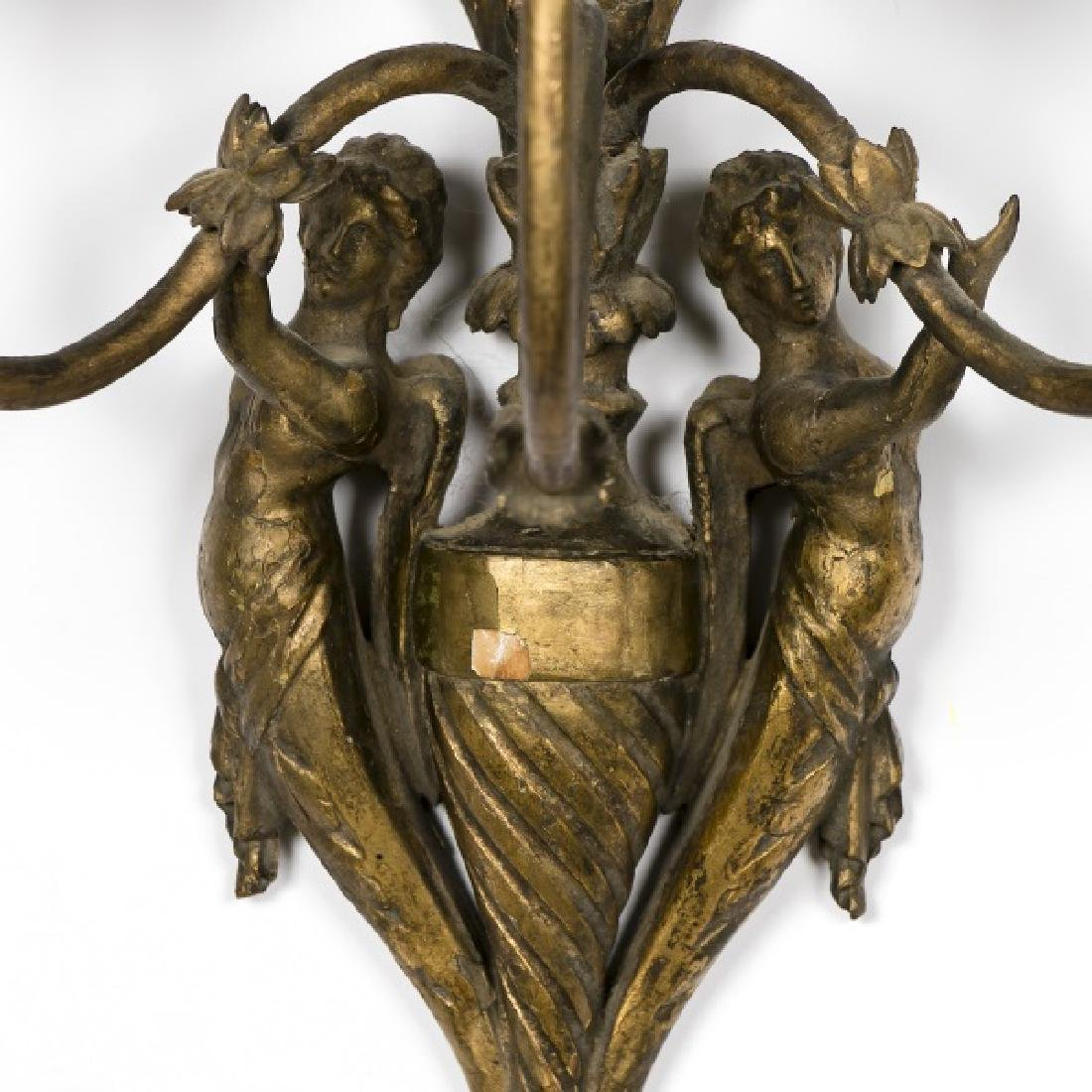 Pair, 19th C. French Carved Gilt Wood Wall Sconces - 3
