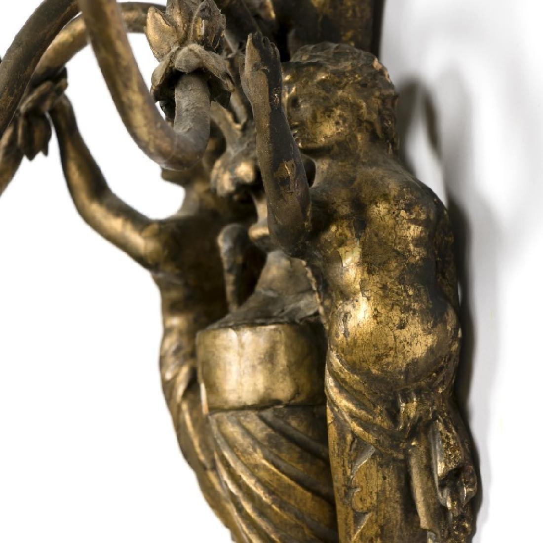 Pair, 19th C. French Carved Gilt Wood Wall Sconces - 4