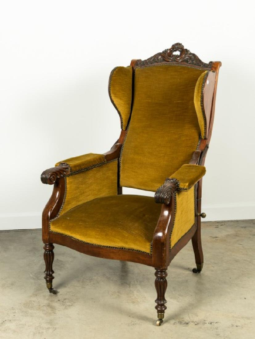 19th C. Upholstered & Studded Reclining Armchair